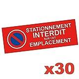 Autocollant Stationnement Interdit - Lot de 30 Stickers - Permet De Signaliser Une Place De Stationnement Privée Afin d'Eviter Voiture Mal Garée