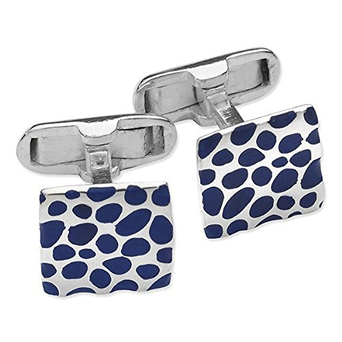 Homme carré Bleu Dot Motif imprimé Boutons de manchette - Argent Sterling 925 et émail Bleu - Classic Étui style Boutons de manchette