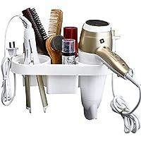 perfectii Soporte para secador de pelo sin agujeros, multifunción pared secador Almacenamiento Organizador secador Rack soporte para secador