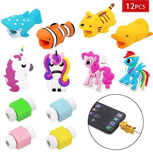 JUSTIDEA 12 Pcs Cute Verschiedene Tier Cable Earphones Saver Protector und Einhorn Kabel Handy Schutzhülle für und Monochrom USB Tier Biss-Modelle zum Schutz der für Handy, verhindern gebrochen -