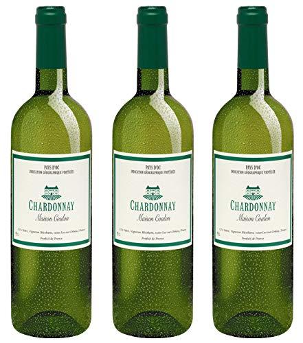 Bio Wein Maison Château Coulon Chardonnay Weißwein Chardonnay Languedoc Süd Frankreich 2017 Trocken Vegan (3 x 0.75 l) (Languedoc Wein)