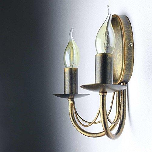 Wandleuchte antik / antik-braun / 2-flammig / E14 bis 60W / Landhaus Leuchte / Wandlampe rustikal Wohnzimmer / Schlafzimmer Lampen / Flur Wandleuchter (2-licht Wandleuchte Antik)