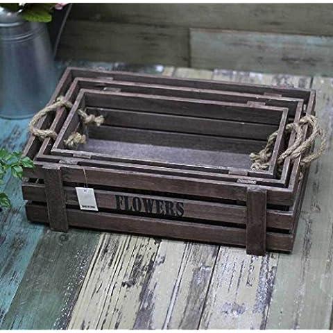 New day-Village Jiutao tre rack di box di stoccaggio box beve birra fioriere fioriera giardinaggio , wood color , l