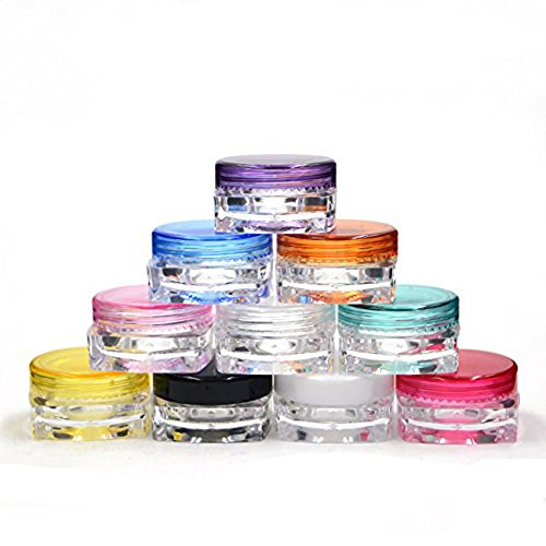 Couvercle New vide Multi Color Transparent contenants en plastique de l'échantillon Coupe, Baume à lèvres, Lotion, crème, cosmétique, maquillage, Échantillon, poudre (5 g)