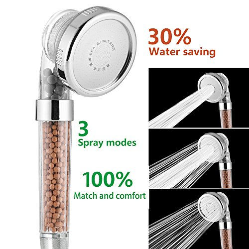 Cabezal de ducha, filtro Cabezal de ducha de mano Cabezal de ducha de 3 vías con bolas minerales de ion por Nosame