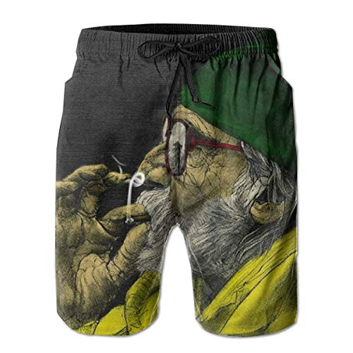 huibe Herren Badehose Marihuana Leaf Flag Weed Smoke Swimwear Sportswear Kordelzug Verschluss Strand Shorts für Jungen Sommer,XXL