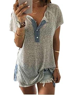 Ularma Mujeres sueltas botón casual blusa camiseta Tops camiseta