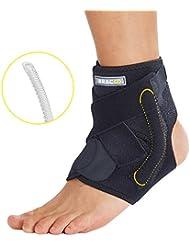 BRACOO Fußbandage mit Stabilisatoren – Sprunggelenk-Bandage – Knöchel-Bandage – Fußgelenk-Bandage   verstellbare Fuß-Gelenkstütze mit Klettverschluss für Sport und Alltag, passt rechts & links   S/M