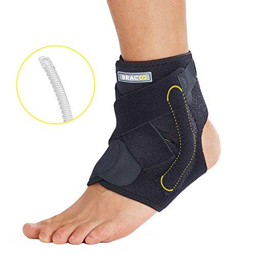 BRACOO Fußbandage mit Stabilisatoren – Sprunggelenkbandage – Fußgelenkbandage | verstellbare Fußgelenkstütze mit Klettverschluss für extra Halt | passt rechts & links | L/XL