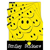 Smiley Stickers YELLOW Smiling Happy Face Badges, 120x BADGE PACK, Self-Adhesive Sticky Printed Coloured Reward Labels For Children/Kids Clothing Garments, Educational Emotive 64MM Round Circular For Teachers/Parents And Schools/Playschool/Nursery