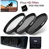 77MM Professional 3 Piece Neutral Density FILTER SET - ND2 ND4 ND8 + Protective Wallet Case + Ultra Fine HeroFiber Microfiber Cleaning Cloth.