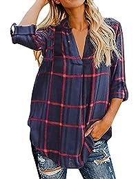 2c8812e156ed Longra Damen Karierte Blusen Langarmhemd mit V-Ausschnitt Karierte Hemd  Bluse Plaid Shirt Loose Fit