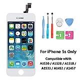 Rarlon Display Compatible Für iPhone 5S Weiß LCD Bildschirm Ersatz Für Touchscreen Glas Reparaturset Ersatz Einschließlich Kostenlose Werkzeug(5S-Weiß)