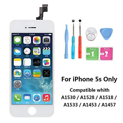 Rarlon Display Compatible Für iPhone 5S Weiß LCD Bildschirm Ersatz Für Touchscreen Glas Reparaturset Ersatz Einschließlich Kostenlose Werkzeug(5S-Weiß) (Hinweis: Ersatz-bildschirm)