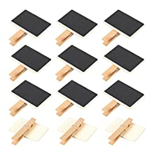 Set von 12Mini Holz kleine Tafel Kreide-Tag Schilder–Tafeln hängend mit Clips für Note aufnehmen, Partys, Buffets–6,6x 5,8x 1,3cm