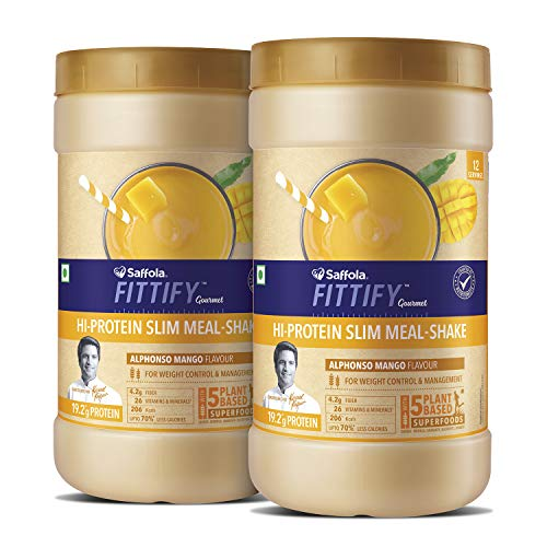 Saffola FITTIFY Hi Protein Slim Meal-Shake, Meal Replacement with 5 superfoods, Alphonso Mango, 420 gm (12 servings)-Buy One Get One Free