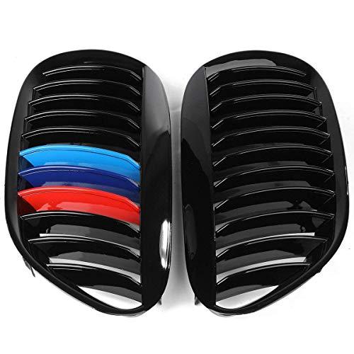 VISTARIC Ein Paar Frontgitter schwarz glänzend Typ M-Color für BMW 6er Reihe 2005-2010 E63 E64