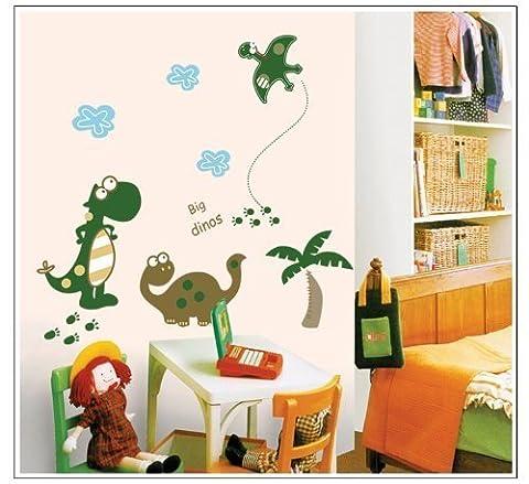 Big Dinosaures Foot Prints de noix de coco Arbre Chambre Sticker mural DIY Sticker mural amovible