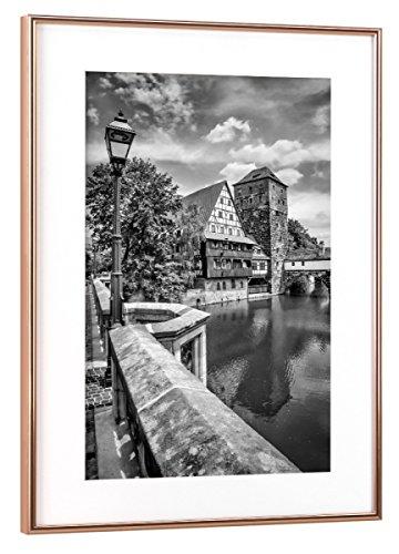 artboxONE Poster mit Rahmen 45x30 cm Nürnberg Blick von der Maxbrücke Zum Henkersteg | Monochrom