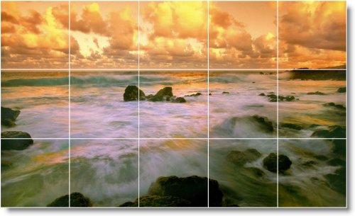 SUNSET FLIPMYCOVER TILE MURAL S009  18 X 76 2 CM CON (15) 6 X 6 AZULEJOS DE CERAMICA