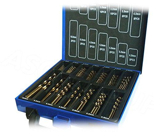 Set di punte per trapano in cobalto (acciaio super rapido e cobalto/inossidabile), acciaio super rapido, progettato per acciaio inossidabile, 99 pezzi