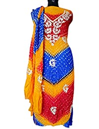 Jaipuri Rajasthani Suit Art Silk Bandhej Gota Patti Bandhini Multi Coloured