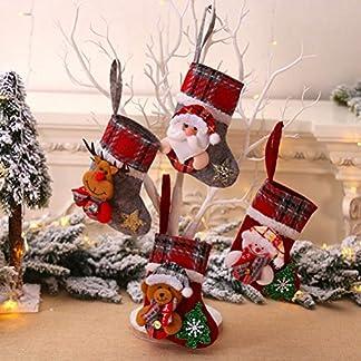 HELEVIA 4 Unidades Calcetín de Navidad decoración Navidad Bolsa de Regalo, Bolsa de azúcar árbol de Navidad decoración Bordado Calcetines decoración Nikolausstrumpf Colgantes Medias