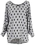 Emma & Giovanni - Pullover - T-Shirt Loose Fit Mit Druck- Damen (XL/XXL, Grau)