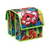 Kinderfahrradtasche, kleine Fahrradtasche für Klapprad oder Faltrad, wasserdicht, aus Wachstuch, Retro, Tehuana schwarz, 2 x 6,25 l Fassungsvermögen