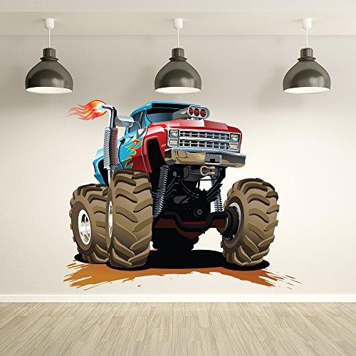 Preisvergleich Produktbild Rot Blauer Monster Truck Wandaufkleber Transport Wandtattoo Jungen Schlafzimmer Haus Dekor Erhältlich in 8 Größen Mittel Digital