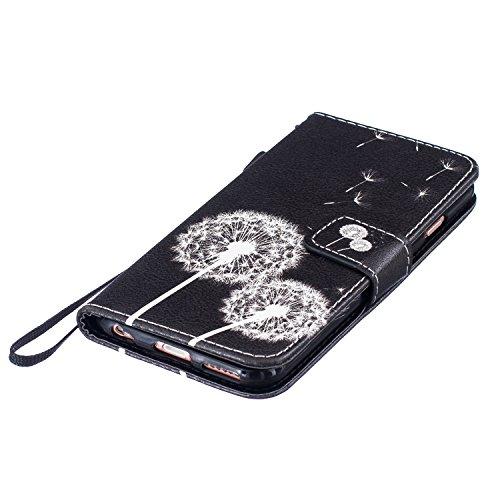 Housse iPhone SE, SpiritSun iPhone 5S Etui en PU Cuir Portefeuille Coque pour Apple iPhone SE / 5 / 5S Mode Peint Motif Couverture Case avec Fonction Support Stand + 1 * Stylet - Attrape de Rêves Vert Pissenlit Noir