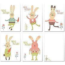 10 Osterkarten im Set mit 5 Motiven   Osterpostkarten Grußkarten Postkartenset Ostern Ostereier Hase   Design Modern Lustig Trendig Stil   Edel, fein und exklusiv aus der Editor's Collection von ArtUp