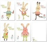 10 Osterkarten im Set mit 5 Motiven | Osterpostkarten Grußkarten Postkartenset Ostern Ostereier Hase | Design Modern Lustig Trendig Stil | Edel, fein und exklusiv aus der Editor's Collection von ArtUp