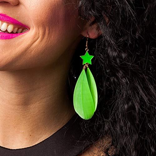 Amakando Neon-Ohrhänger für Frauen Disco-Queen / Neongrün / Buntes Kostüm-Zubehör für Damen Punk-Girl / Einsetzbar zu Karneval & 80er-Party
