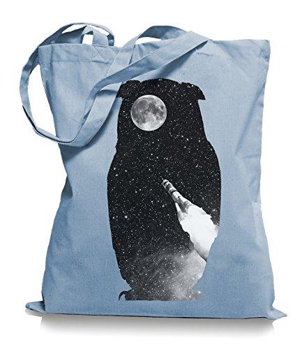 Ma2ca® Rocket Owl - Eulen - Jutebeutel Stoffbeutel Tragetasche / Bag WM101 Skyblue
