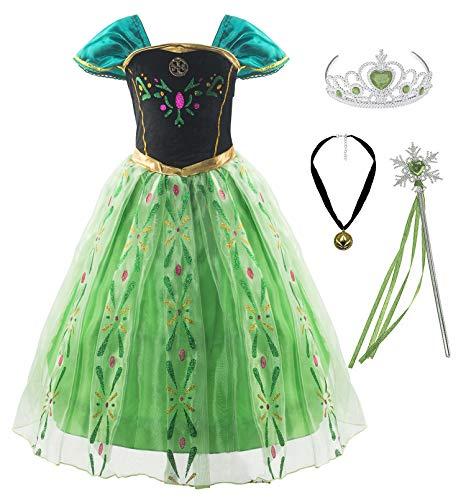 KABETY Mädchen Prinzessin Anna Kleid Schnee königin ELSA Kostüm Party Kleid,6 Jahre (Hersteller Größe:130),Grün mit Zubehör
