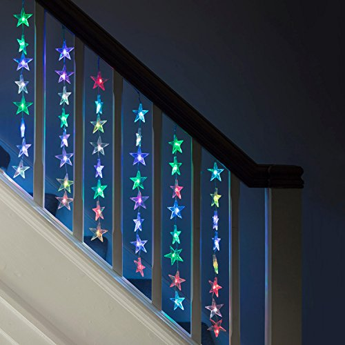 Lights4fun Indoor Star Curtain Light with 64 Colour Changing LEDs on Clear Cable by Lights4fun
