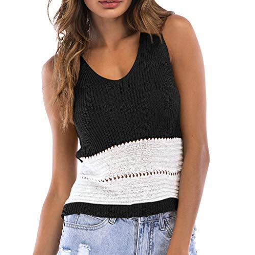 Luckycat Tejer Chaleco Corto de Mujer, Patchwork Camisetas sin Mangas sin Tirantes Atractivas de la Moda 2019 Blusa Tops para Primavera Verano