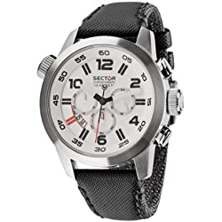 Sector Men's Watch R3271702045 In Collection Oversize with 48mm Chrono, White Dial and Black Strap