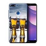 Stuff4® Custodia/Cover/Caso/Cassa Rigide/Prottetiva Stampata con Il Disegno Sciare/Snowboard per Huawei Y7/Prime/PRO (2018) - Apres/Capanna di Sci/Birra