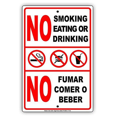 Eugene49Mor No Smoking Essen Oder Trinken Kein Fumar Comer O Beber Englisch Spanisch Aluminium Metall 30,5x 45,7cm Schild