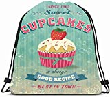 Drawstring Backpack String Bag 14x16 Bake Pastry Vintage Cupcakes Food Typographic Drink Cake Old Retro Recipe Headline Dessert Sweet Advertise Sport Gym Sackpack Hiking Yoga Travel Beach