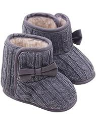 Minetom Bebé Bowknot Cargadores de la Nieve Suave Cuna Invierno Zapatos Botas Niño