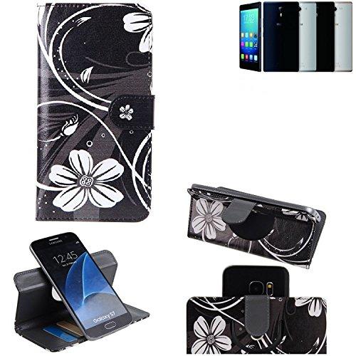 K-S-Trade Schutzhülle Haier Voyage V5 Hülle 360° Wallet Case Schutz Hülle ''Flowers'' Smartphone Flip Cover Flipstyle Tasche Handyhülle schwarz-weiß 1x
