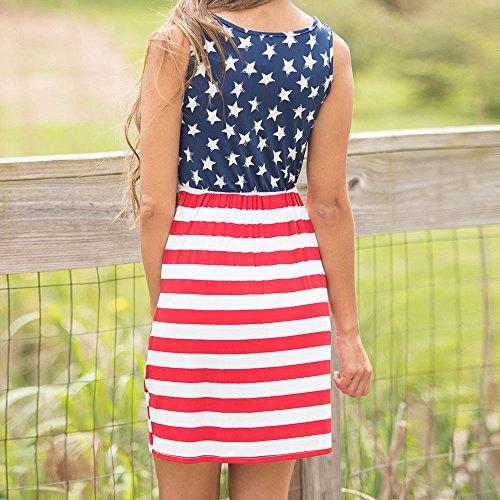 Elegante kleider Damen Kleid Cocktailkleider Ronamick Womens drucken Sexy ärmelloses Minikleid amerikanische Flagge(M, Multicolor) - Pailletten Multi Color Print-rock
