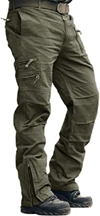 MAGCOMSEN Mens Cargo Work Trousers Cotton Pants Outdoor Camping Hiking Loose Fit 30-40