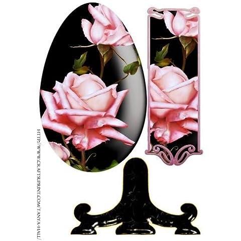 Uova di Pasqua piastra Lenzuolo con rose rosa by Tanya Hall