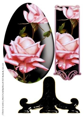 uovo di Pasqua piastra lenzuolo con rose rosa da Tanya Hall