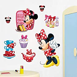 GVC Cartoon Disney Minnie Mouse Cake Wall Stickers for Nursery Kids Room Home Decor Bedroom Wall PVC Mural Art Self Glue Wallpaper