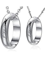 Infinite U Plata Esterlina 925 Encanto Señor de los Anillos Colgante Collar para Parejas/Enamorados con Cadena Regalo de San Valentín